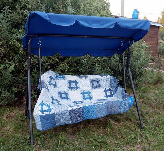 """Текстиль, ковры ручной работы. Ярмарка Мастеров - ручная работа. Купить Лоскутное одеяло """"Голубые узоры"""". Handmade. Одеяло пэчворк"""