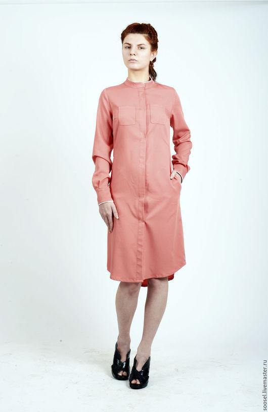 """Платья ручной работы. Ярмарка Мастеров - ручная работа. Купить Платье-рубаха """"Персик"""". Handmade. Кремовый, рубаха, офис, мода"""
