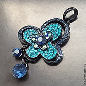 Материалы для творчества handmade. Livemaster - original item Pendant art. 7-66 with blue crystals. Handmade.