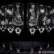 Бокалы ручной работы. Ярмарка Мастеров - ручная работа Бокалы для шампанского новогодние гравировка. Handmade.