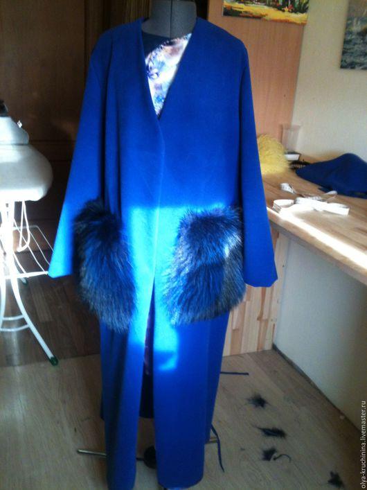 Верхняя одежда ручной работы. Ярмарка Мастеров - ручная работа. Купить Кардиган с меховыми карманами. Handmade. Тёмно-синий, лама