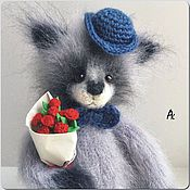 Куклы и игрушки handmade. Livemaster - original item kroshka-enot in a hurry for a birthday 25cm soft knitted toy raccoon. Handmade.