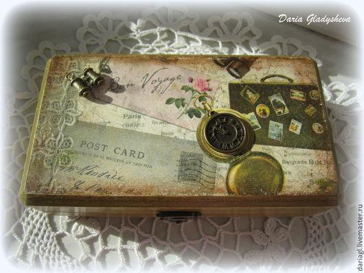 """Подарки для мужчин, ручной работы. Ярмарка Мастеров - ручная работа. Купить Купюрница """"Путешествие"""". Handmade. Коричневый, для денег"""