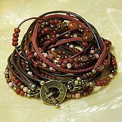 Украшения handmade. Livemaster - original item Boho terracotta bracelet. Surround bracelet. Bracelet transformer. Marsala. Handmade.