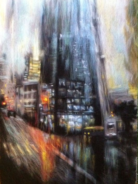 """Город ручной работы. Ярмарка Мастеров - ручная работа. Купить картина из шерсти """"Город"""". Handmade. Темно-серый, картина из шерсти"""