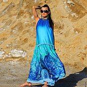 Одежда ручной работы. Ярмарка Мастеров - ручная работа Платье свободного кроя  из шелка декорированное вышивкой (112). Handmade.