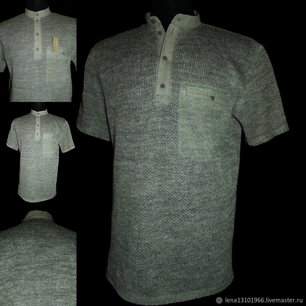 100% linen Shirt 'Scales' in the technique of knitting textiles, Mens shirts, Kostroma,  Фото №1