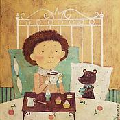 Картины и панно ручной работы. Ярмарка Мастеров - ручная работа Кофе в постель. Handmade.