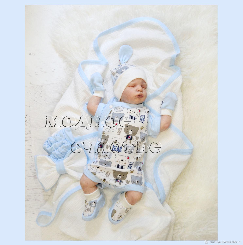 Для новорожденных, ручной работы. Ярмарка Мастеров - ручная работа. Купить Летний комплект для новорожденного 'Мишка в молочном'. Handmade.