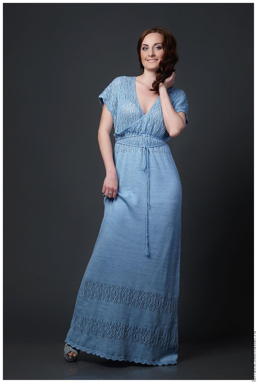 Летнее вязаное платье в пол