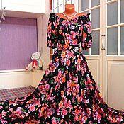 Одежда ручной работы. Ярмарка Мастеров - ручная работа Штапельное платье в пол Верона. Handmade.