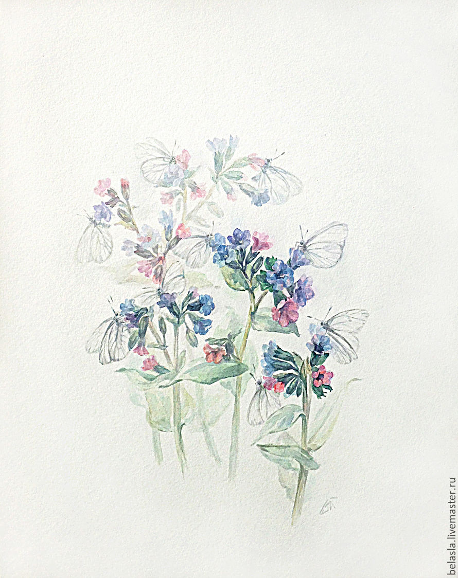 Second prize! Lungwort in bloom and butterflies, watercolor, Pictures, Moscow,  Фото №1