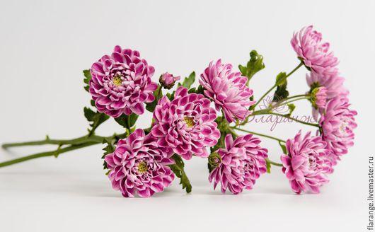 Цветы ручной работы. Ярмарка Мастеров - ручная работа. Купить Ветка грациозной  хризантемы. Handmade. Тёмно-фиолетовый