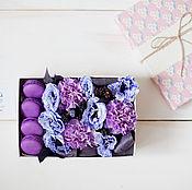 """Цветы и флористика ручной работы. Ярмарка Мастеров - ручная работа Цветочная коробочка """"Фиолетовая"""". Handmade."""