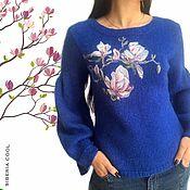 handmade. Livemaster - original item Women`s jumper Magnolia, wool watercolor, Merino wool and mohair. Handmade.