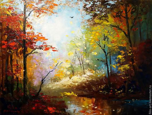 Пейзаж ручной работы. Ярмарка Мастеров - ручная работа. Купить Пейзаж Осень Картина маслом на холсте -