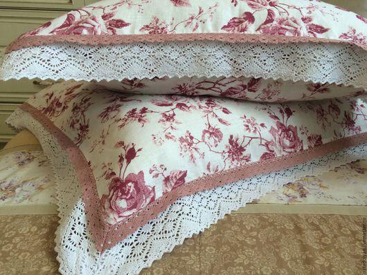"""Текстиль, ковры ручной работы. Ярмарка Мастеров - ручная работа. Купить Наволочки льняные """" Шиповник""""  комплект из 2 штук. Handmade."""