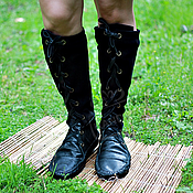 Обувь ручной работы handmade. Livemaster - original item Boots-Boots of leather and suede with lace Combo Black. Handmade.