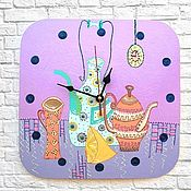 Для дома и интерьера handmade. Livemaster - original item Kitchen wall clock time to drink tea, still Life handmade clock. Handmade.