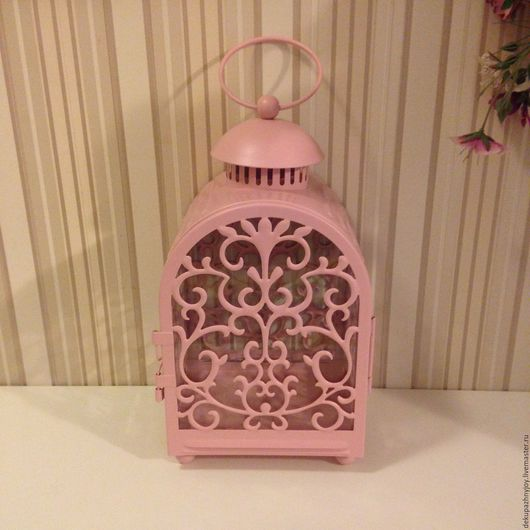 Фонарь-подсвечник интерьерный розовый с орнаментом. Декупажная радость