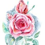 Картины и панно ручной работы. Ярмарка Мастеров - ручная работа Роза с бутоном, розовая. Handmade.