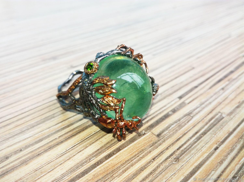 """Кольца ручной работы. Ярмарка Мастеров - ручная работа. Купить Кольцо """"Джунгли"""" с зеленым флюоритом. Handmade. Зеленый, кольцо в подарок"""