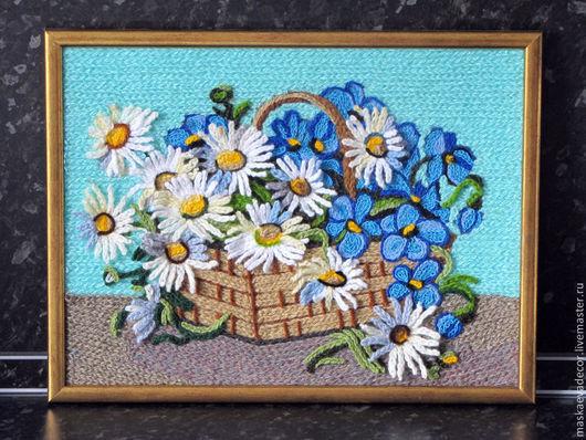 Картины цветов ручной работы. Ярмарка Мастеров - ручная работа. Купить Картина вязанная букет цветов фиалки и ромашки в корзине 25 х 30 см. Handmade.