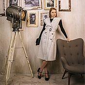 Одежда ручной работы. Ярмарка Мастеров - ручная работа Двубортное платье-жилет из светло-серой шерсти с поясом. Handmade.