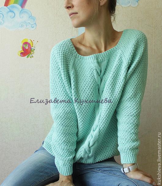 Кофты и свитера ручной работы. Ярмарка Мастеров - ручная работа. Купить Хлопковый мятный пуловер. Handmade. Мятный, мятный джемпер
