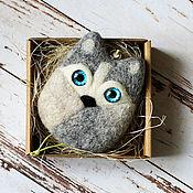 Куклы и игрушки ручной работы. Ярмарка Мастеров - ручная работа Хаски - собачка из шерсти - подвеска. Handmade.