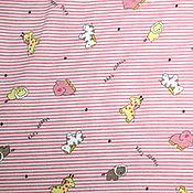 Материалы для творчества ручной работы. Ярмарка Мастеров - ручная работа Футер Зверята на розовой полоске. Handmade.