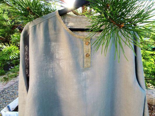 """Для мужчин, ручной работы. Ярмарка Мастеров - ручная работа. Купить Рубашка мужская """"Мужество"""". Handmade. Серый, лён"""