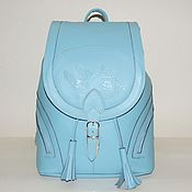Сумки и аксессуары handmade. Livemaster - original item Backpack leather blue women`s