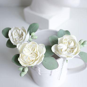 Свадебный салон ручной работы. Ярмарка Мастеров - ручная работа Набор из 3 штук: заколка шпилька с белой розой. Handmade.