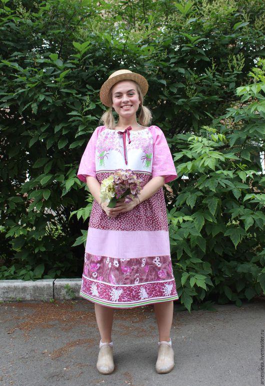 Платья ручной работы. Ярмарка Мастеров - ручная работа. Купить Платье для дома и сада. Handmade. Комбинированный, из лоскутов, натуральные материалы