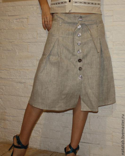 Юбки ручной работы. Ярмарка Мастеров - ручная работа. Купить Льняная юбка на пуговицах. Handmade. Серый, юбка из льна