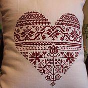 Для дома и интерьера ручной работы. Ярмарка Мастеров - ручная работа Вышитая подушка  Сердечная. Handmade.