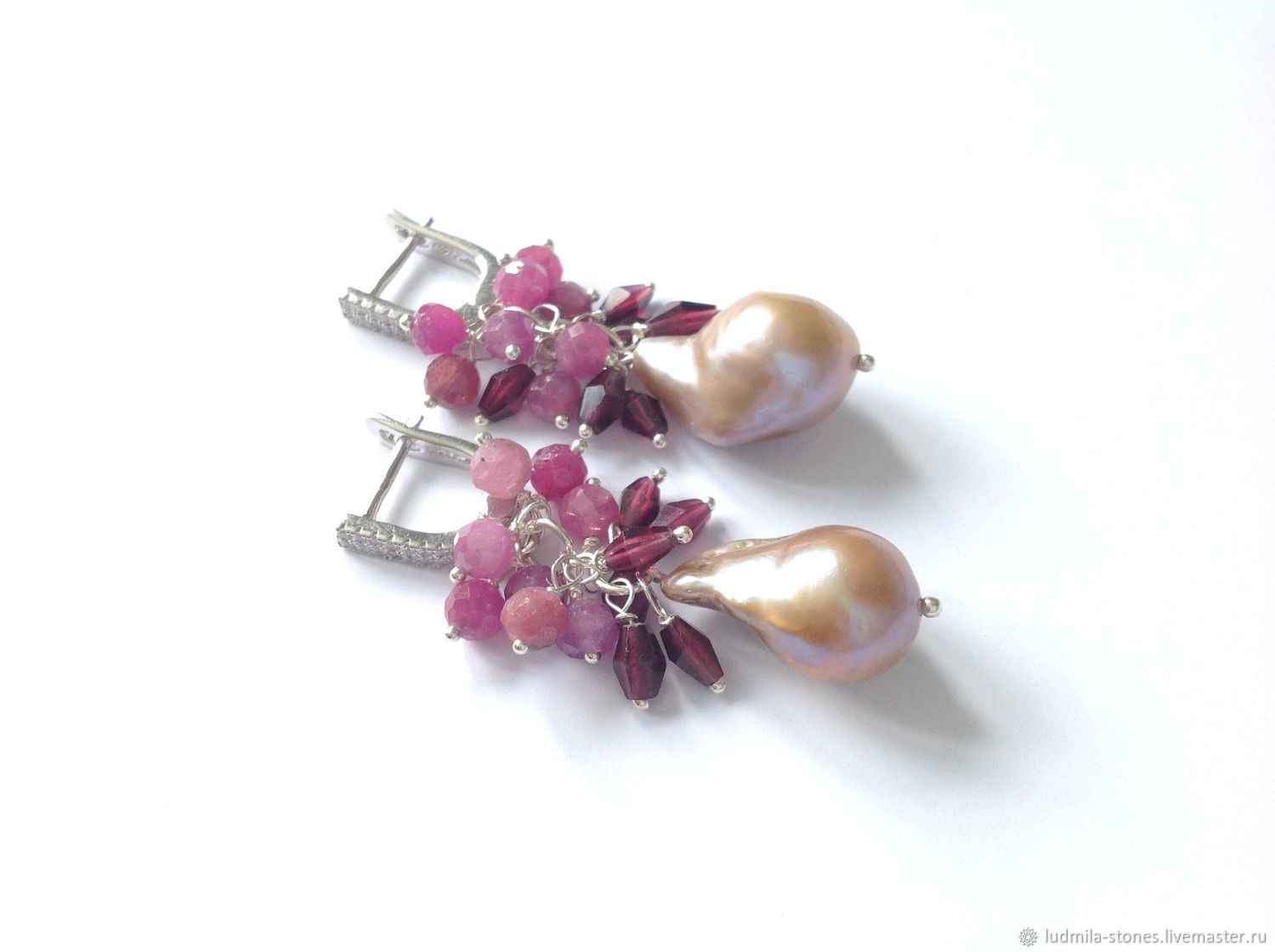 Silver earrings with ruby, garnet and Baroque pearl, Earrings, Moscow,  Фото №1