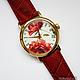 """Часы ручной работы. Часы наручные JK """"Красные розы"""". Екатерина (JayKay). Интернет-магазин Ярмарка Мастеров."""