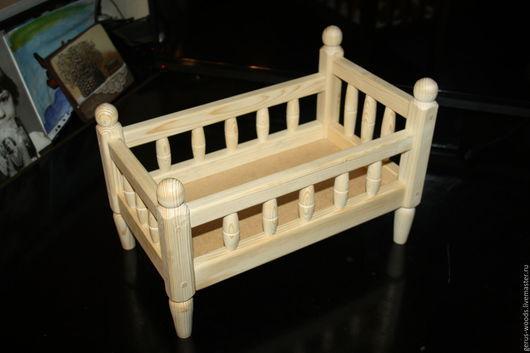 Кукольный дом ручной работы. Ярмарка Мастеров - ручная работа. Купить Кроватка кукольная деревянная со спинкой. Handmade. Кроватка