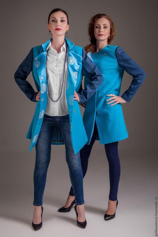 Верхняя одежда ручной работы. Ярмарка Мастеров - ручная работа. Купить Пальто  облегченное без воротника. Handmade. Голубой