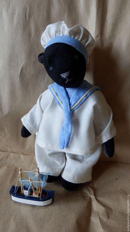 Мишки Тедди ручной работы. Ярмарка Мастеров - ручная работа. Купить Отважный моряк Жан. Handmade. Черный, медведи, плюш