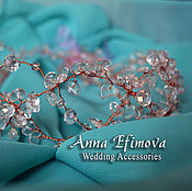 Свадебный салон handmade. Livemaster - original item Wedding wreath. Crystal.. Handmade.