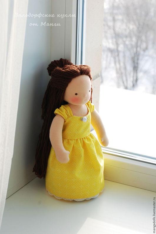 Вальдорфская игрушка ручной работы. Ярмарка Мастеров - ручная работа. Купить Бэлль, вальдорфская кукла (35 см). Handmade. Желтый