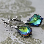 Украшения handmade. Livemaster - original item silver plated earrings with Swarovski crystals