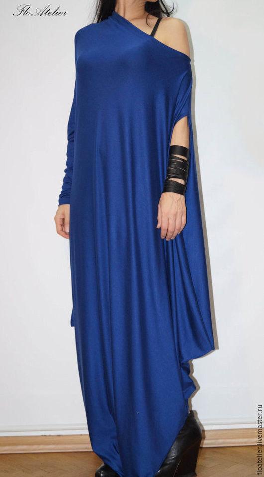 Платья ручной работы. Ярмарка Мастеров - ручная работа. Купить Крупногабаритное платье/Кафтан с длинными рукавами/F1241. Handmade. Тёмно-синий
