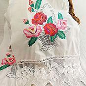 Винтаж handmade. Livemaster - original item Vintage embroidered towel 50 years. Handmade.