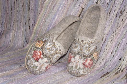 """Обувь ручной работы. Ярмарка Мастеров - ручная работа. Купить Тапочки-балетки валяные """"Летние настроение""""  Русский стиль. Handmade."""