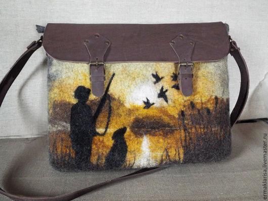 Мужские сумки ручной работы. Ярмарка Мастеров - ручная работа. Купить Сумка валяная Охотник. Handmade. Валяная сумка, подарок