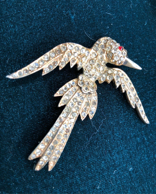 Винтаж: Брошь винтаж «Птица» 1920 Sterling серебро, Броши винтажные, Москва,  Фото №1